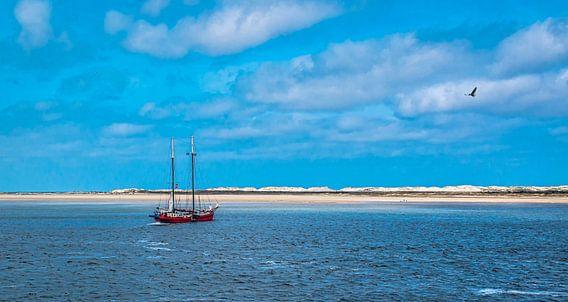 Zeilschip voor de kust van Terschelling