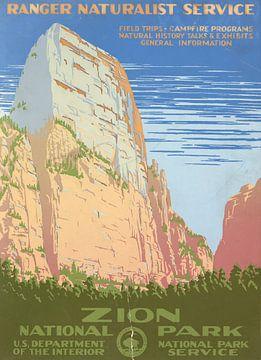 Zion-Nationalpark, Ranger-Naturschutzdienst von Vintage Afbeeldingen