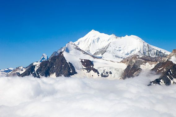 Weisshorn und Matterhorn in den Walliser Alpen