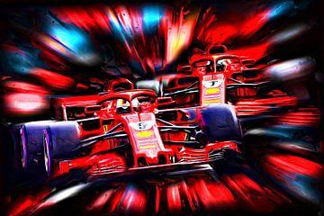 Teammates 2018 - Sebastian Vettel #5 and Kimi Räikkönen #7 von Jean-Louis Glineur alias DeVerviers