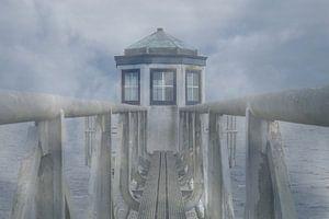 Neblige Luft am Leuchtturm von Oostmahorn von Annette Schoof
