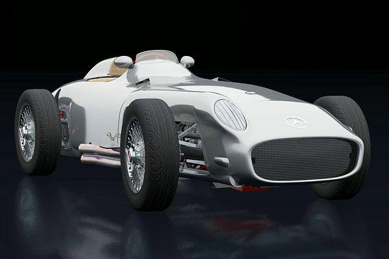 Mercedes W196 Zilveren Pijl drie-kwart mening