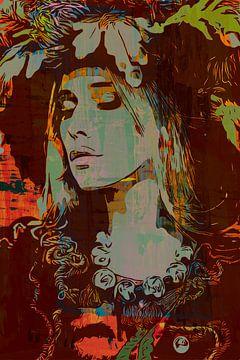 Böhmische Dame mit Hut und Blumen von The Art Kroep