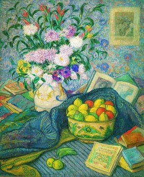 Juan de Echevarría-Vase mit Bananen, Zitronen und Büchern