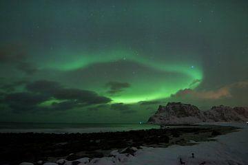 Nordlicht als Vorhang über norwegischem Strand von Hannon Queiroz