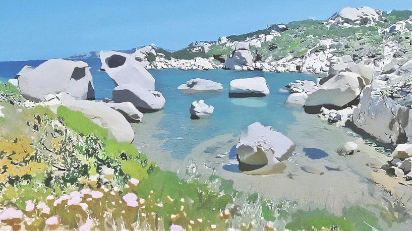 Sardaigne - Le Piscini di Porto Cuncatu - Figuratif naturel - Costa Smeralda - Peinture sur Schildersatelier van der Ven