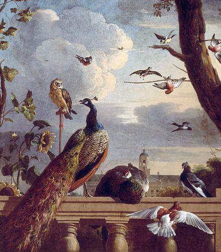 Vogels bij een balustrade, Melchior d'Hondecoeter von Meesterlijcke Meesters