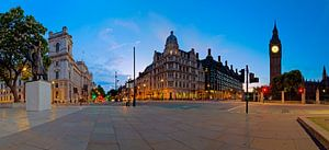Panorama standbeeld Winston Churchill en Big Ben te Londen
