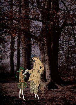 Moeder en dochter in het bos van Irene Hoekstra