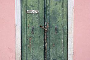 Groene deuren en een roze muur in Venetië  van