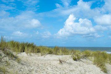 Cadzand-bad, duinen met gras en de zee van JM de Jong-Jansen