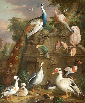 Eine Sammlung von Vögeln in einer Parklandschaft, Jacob Bogdány