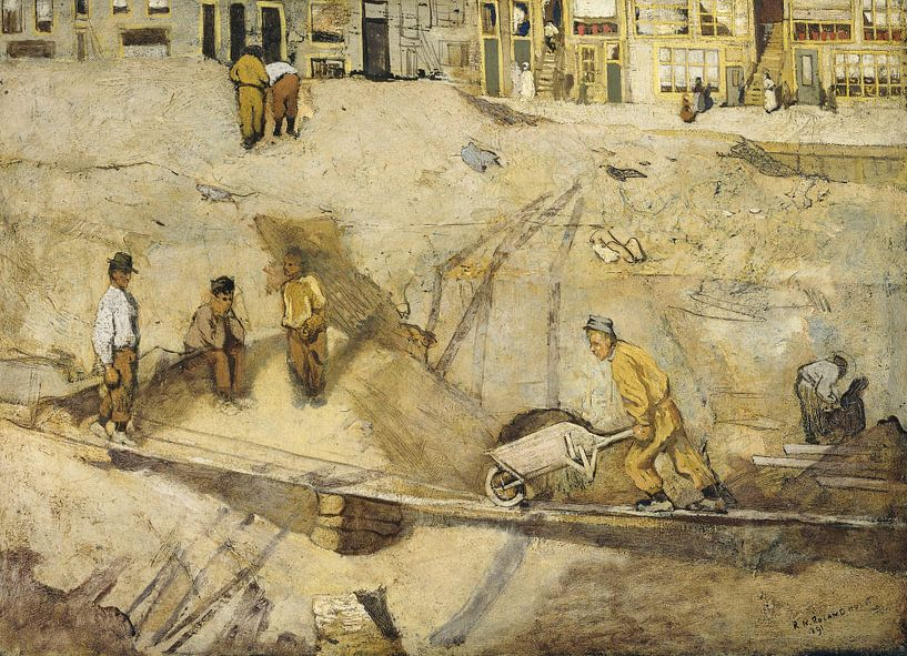 Baugrube in Amsterdam, Richard Nicolaüs Roland Holst, 1891 von Marieke de Koning