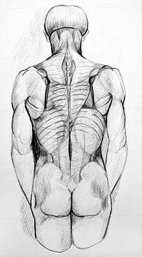 Zeichnung einer Männerfigur in Schwarz-Weiß. von Therese Brals