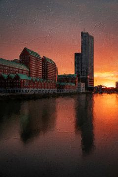 Rotterdam zuid met een prachtige zonsondergang van Digitale Schilderijen
