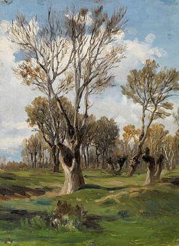 Carlos de Haes-Boschap im Gras, Antike Landschaft