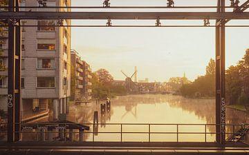 Zicht op molen De Put in Leiden van Dirk van Egmond