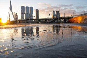 Erasmusbrücke und Südende spiegeln sich im zugefrorenen See von Remco Swiers