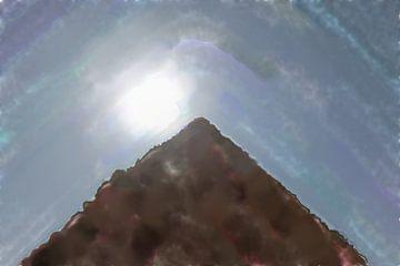 Heldere zon achter de top van een piramide van Frank Heinz