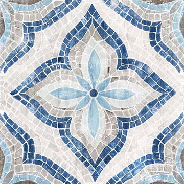Blue Single Marokkaanse Tegel, Eva Watts  van PI Creative Art