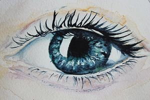 Aquarel oog: Love is in the eye of the bee-holder - aquarel light version