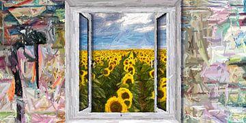 Het raam naar de tuin van Marion Tenbergen