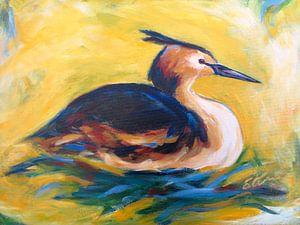 fuut op  nest, schilderij