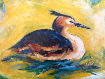 fuut op  nest, schilderij van Eveline van Oudbroekhuizen