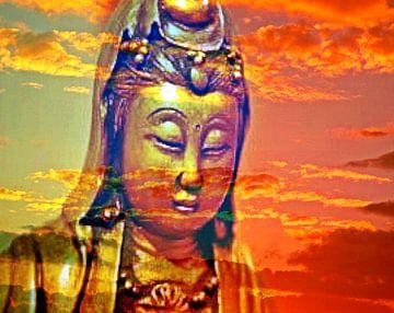Buddha - Abendstimmung van Doris Kroos