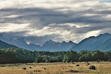 Wildernis landschap - Een Vlakte, Een Bos, Bergen en Wolken - Nieuw-Zeeland - Schilderij