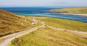 Verlaten weg naar de oceaan, Shetland eilanden, Schotland van Sebastian Rollé - travel, nature & landscape photography