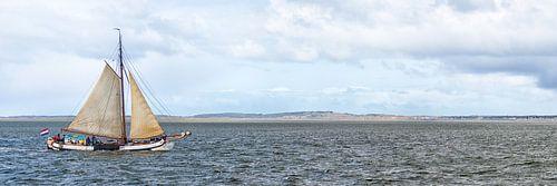 Eine Tjalk beim Insel Vlieland von Roel Ovinge