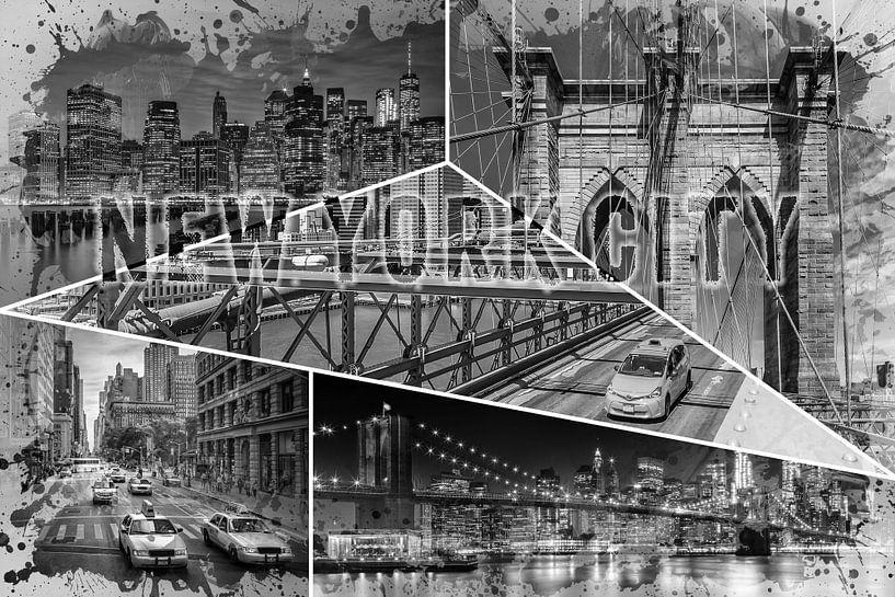 NEW YORK CITY Urban Collage No. 4 | zwart-wit van Melanie Viola