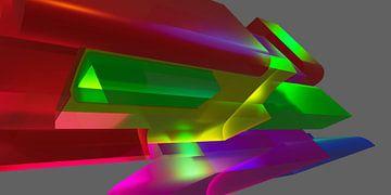 Dynamisch futuristisch 3D space graffiti kunstwerk van Pat Bloom - Moderne 3d en abstracte kubistiche kunst