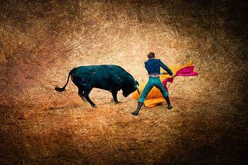 Meervoudige blootstelling op bruine achtergrond stierengevecht met matador en stier van Dieter Walther