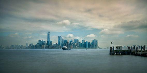 Lower Manhattan skyline gezien vanaf Ellis Island