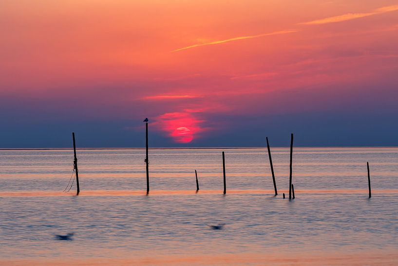 Zonsondergang Noordzee Rockanje II van Dave Zuuring
