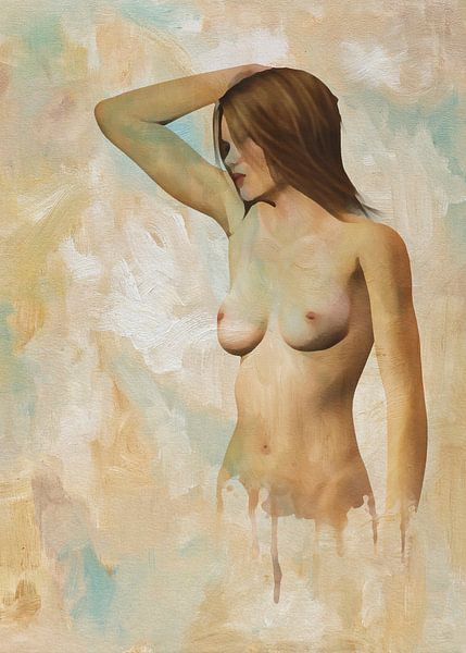 Erotisch naakt - Naakte vrouw die voor ons staat van Jan Keteleer