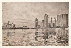 Carte postale d'époque: port du Rhin à Rotterdam