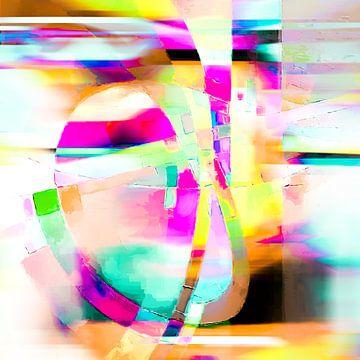 Modernes, abstraktes digitales Kunstwerk in Rosa, Gelb, Blau von Art By Dominic