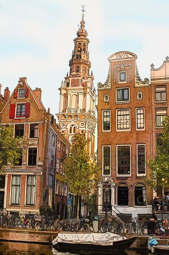 Tekening Zuiderkerk Amsterdam Pentekening Lijntekening Kleur