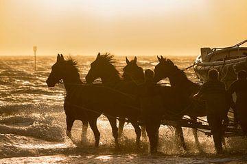 De lancering van de paardenreddingsboot van Ameland van