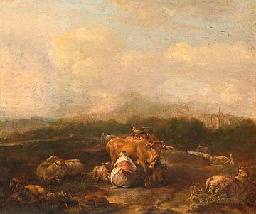 Italienische Landschaft mit Rindern, Nicolaes van Helt Stockade