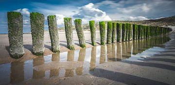 Pfosten am Strand in Domburg von Daniël Steenbergen