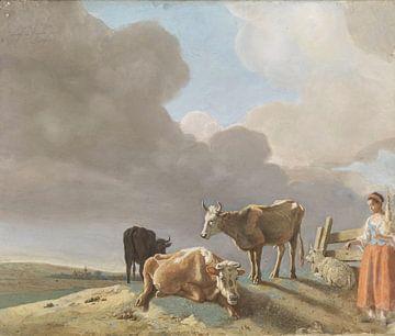Landschap met koeien, schapen en herderin, Jean-Etienne Liotard