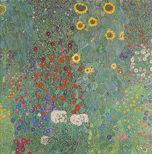 Boerderijtuin met zonnebloemen, Gustav Klimt