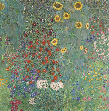 Boerderijtuin met zonnebloemen, Gustav Klimt van