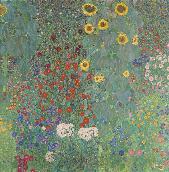 Boerderijtuin met zonnebloemen, Gustav Klimt van Meesterlijcke Meesters