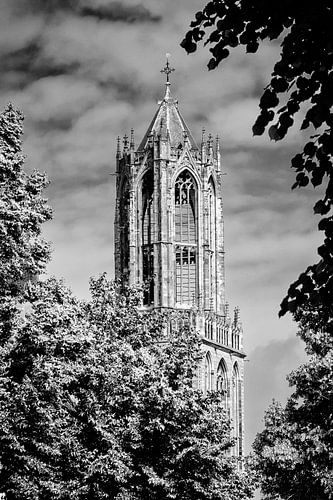 De Domtoren van Utrecht in zwart-wit (1) van