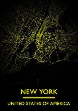 plattegrond New York (gold) van Bert Hooijer